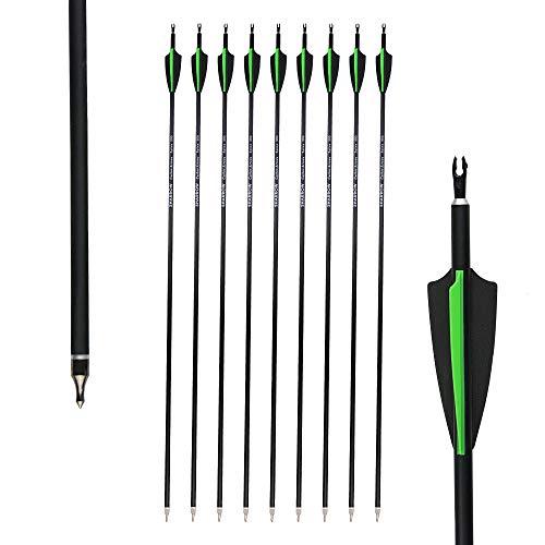 AMEYXGS 12 Stück Pfeile für Bogenschießen, Mixed Carbon Arrows 30 Zoll Zielpfeile Spine 500 mit Ersetzen Pfeilspitzen für Recurvebogen Compoundbogen Langbogen (grün+schwarz)