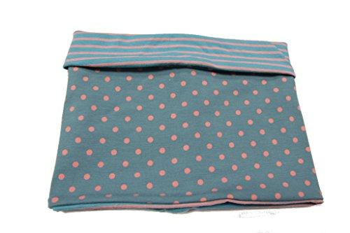 Pinidi Schal - Schlauchschal - Wendeloop Basic / Punkte rosa auf petrol-grau / Jersey rosa- petrolgraue Streifen / 50cm