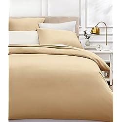 AmazonBasics - Bettwäsche-Set, Fadendichte 400, Baumwollsatin, 155 x 200 cm und zwei Kissenbezügen, 80x80cm, Beige
