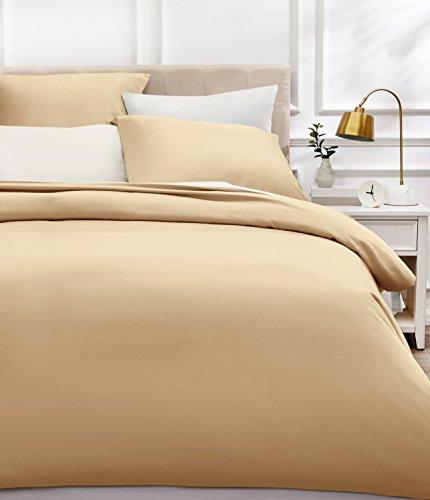 AmazonBasics - Bettwäsche-Set, Fadendichte 400, Baumwollsatin, 155 x 220 cm und zwei Kissenbezügen, 80x80cm, Beige