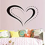 lsweia Gepunktete Herzform Umriss Aufkleber Abnehmbare Wasserdichte Wandtattoo Selbstklebende Tapete Für Schlafzimmer DIY Hochzeit Home Decor63 * 43 cm