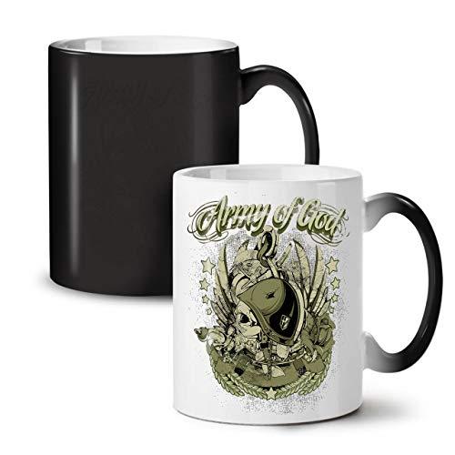 Wellcoda Armee Von Gott Pilot Schädel Farbwechselbecher, Schädel Tasse - Großer, Easy-Grip-Griff, Wärmeaktiviert, Ideal für Kaffee- und (Armee Pilot Kostüm)