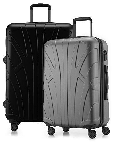 Suitline - 2er Koffer-Set Trolley-Set Rollkoffer Hartschalen-Koffer Reisekoffer, TSA, (66 cm, 76 cm), 100% ABS, Matt, Silber / Schwarz