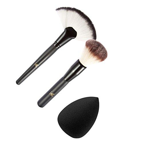 MagiDeal 2 Pinceaux Maquillage Poudre Fondation Contour + Eponge Blender Puff Kit