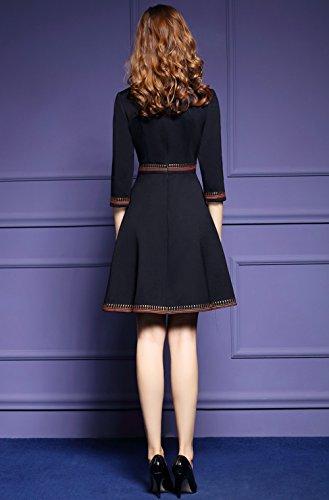 LAI MENG Damen Abendkleid Elegant Skaterkleid mit Blumenstickerei 2/3 Arm Partykleid Cocktailkleid Schwarz