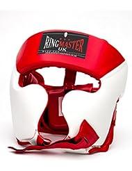RingMasterUK Casco Protector para Boxeo Piel Sintética, Blanco/Rojo, Hombre Mujer, Rojo