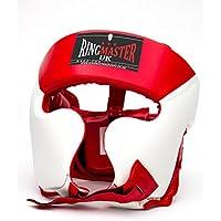 ringmasteruk Casco Protector Para Boxeo Piel Sintética, Blanco/Rojo, hombre mujer, rojo y blanco