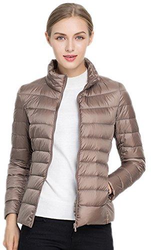 Santimon Damen Daunenjacke Packbar Stehkragen Ultra Leicht Gewicht Winter Wärm Kälteschutz Daunenmantel Khaki X-Large