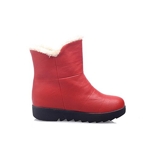 AllhqFashion Damen Mittler Absatz Rein Rund Zehe Weiches Material Reißverschluss Stiefel Rot