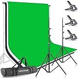 Neewer Foto Studio 2,6 x 3 m achtergrond statief ondersteuningssysteem met 1,8 x 2,8 m stof achtergrond wit zwart groen voor