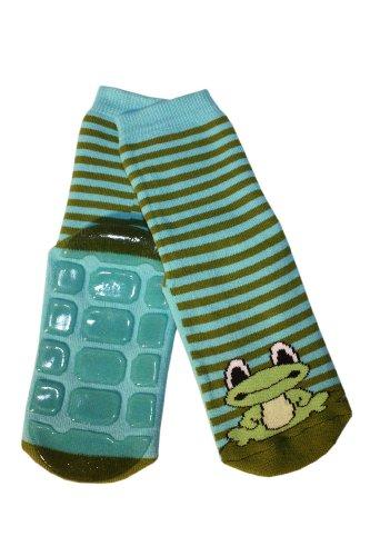 Weri Spezials Voll - ABS Socke, Frosch Motiv in Blau-gruen, Gr.31-34 (7-8 Jahre)