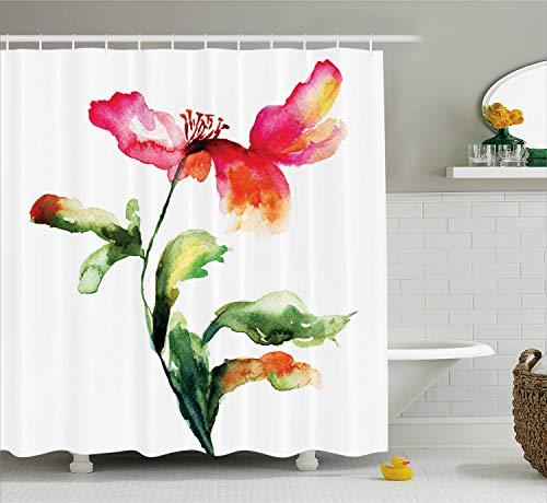 Watercolor Flower Decor Duschvorhang Set von ambesonne, Single Poppy Blühende Pflanze Muse in der Natur Erde Divine Grace, Badezimmer Zubehör, 190,5cm lang, rot grün weiß