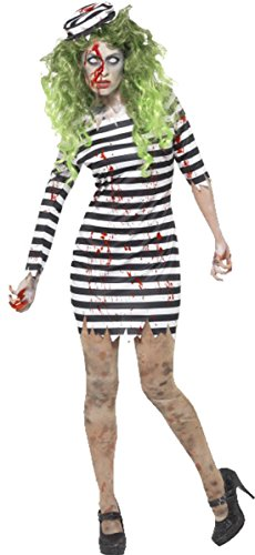 Frauen Erwachsene Fancy Dress Halloween Party Horror Zombie Jail Bird Gefangene Kostüm, Schwarz