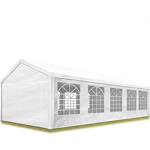 TOOLPORT Partyzelt Pavillon 4x10 m in weiß 180 g/m² PE Plane Wasserdicht UV Schutz Festzelt Gartenzelt -
