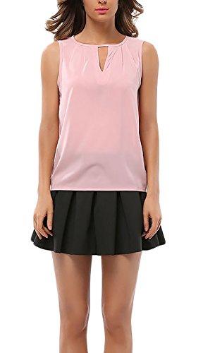 Shirt Damen Chiffon Ärmellos Trägerlos Rundhals Aushöhlen Elegant Sommer Locker Tank Tops Chiffonbluse Pink