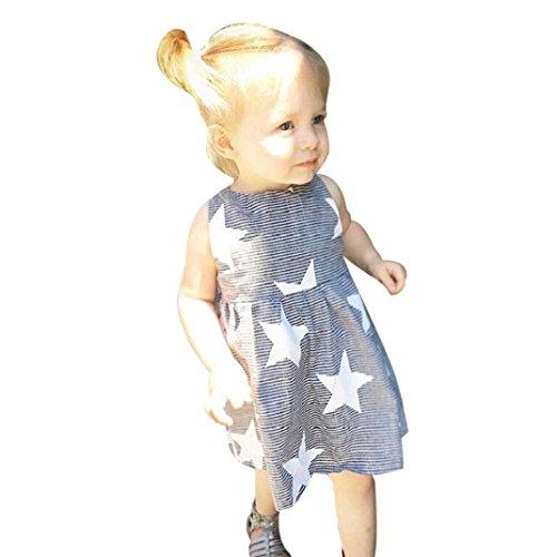 Sarong Bekleidung Pareos (PINEsong Kleinkind Baby Mädchen Sommer Ärmellos Strand Sundress Star Streifen Party Kleid (Grau, 4T))
