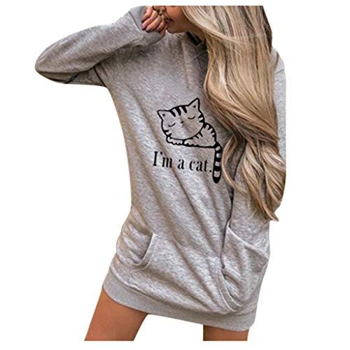 Floweworld Damen Langarm Hoodies Sweatshirt süße Katze Buchstaben gedruckt einfarbig Kapuzenpullover Tasche Tunika Tops -