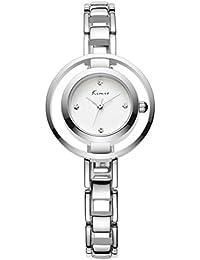 Alienwork Reloj cuarzo pulsera cadena envolver cuarzo strass elegante Metal blanco plata YH.KW6100M-01
