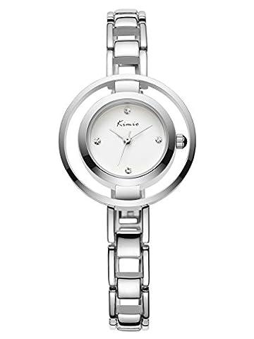 Alienwork Quarz Armbanduhr Armreif Kette wickeln Uhr Damen Uhren Mädchen elegant Metall weiss silber YH.KW6100M-01
