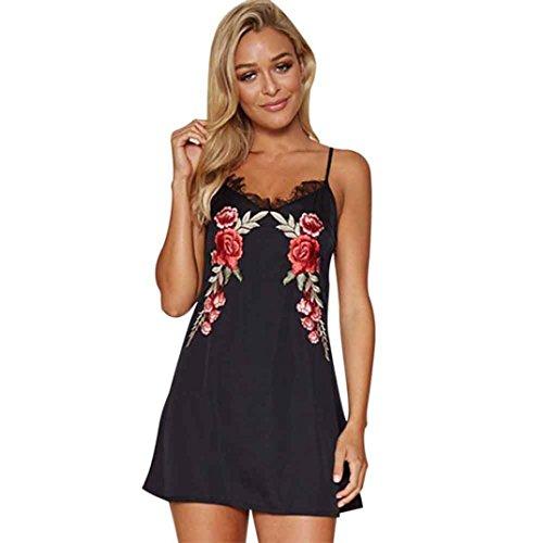 vestidos de fiesta cortos Switchali moda vestidos verano mujer floral Sin mangas Mini vestido de novia vintage casual de las mujeres de senora atractivo Vestidos para mujer baratos (L, Negro)