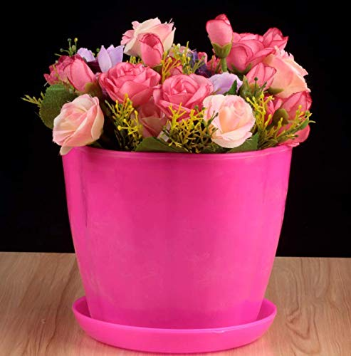 HYXGG Blütenblatt Kunststoff Harz Grüne Pflanze Fleischigen Blumentopf Nachahmung Porzellan Balkon Kleinen Blumentopf Zu Senden Tablett - Rose Rot 13 * 12 cm 10 Stücke -