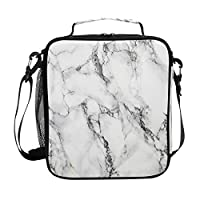 Girls Marble Lunch Bags White Marble Stone Large Insulated Lunch Box Tote Bag Cold Thermal Freezable Shoulder Strap for Kids Teen Women School Work