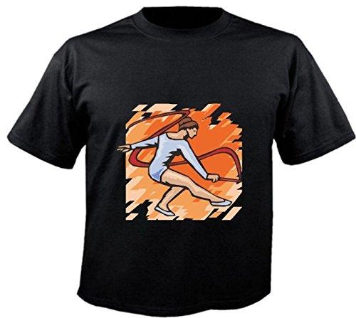 Motiv Fun T-Shirt Kunstturnen Turnen Ballet Leichtathletik wow Motiv Nr. 6267 Schwarz