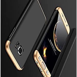 Mobi Case (TM) 3 in 1 Double Dip 360 Degree Full Protection Hard PC Cover Case for Samsung Galaxy S7 Edge (Gold Black)