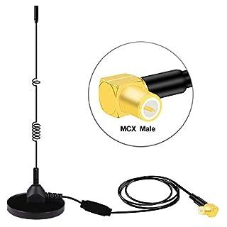 Verbesserte DAB Antenne,Esuper Universal DAB+ Antenne Auto DAB Antenne mit MCX Anschluss Leistungsstarker Magnetfuß+3M-Kabel für Digitalen DAB Autoradio Adapter Anzug zur Installation von Innen Außen