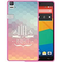 Funda bq Aquaris E6, WoowCase [ bq Aquaris E6 ] Funda Silicona Gel Flexible Frase Life is Perfect, Carcasa Case TPU Silicona - Rosa