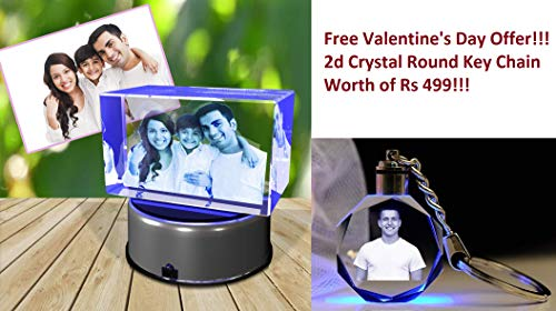 Aadya Crystal 3D Crystal Engraved Gifts - Couple 3D Photo Personalized Laser Engraved Crystal Cube 6X6X10 cm