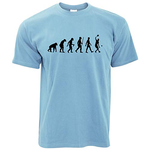 Netto-mädchen T-shirt (Sport T-Shirt Evolution eines Tennis-Spieler Sky Blue Large)
