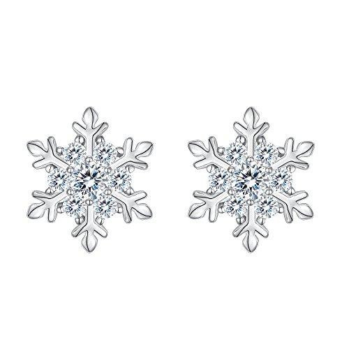Orecchini argento 925,ever faith zirconia elegante inverno fiocco di neve orecchini lobo