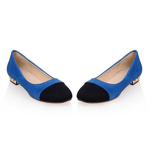 VogueZone009 Femme à Talon Bas Dépolissement Couleurs Mélangées Tire Carré Chaussures Légeres Bleu