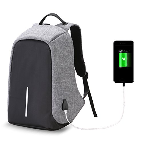Twinkbling Antivol pour ordinateur portable Sac à dos Grande capacité décontractée Sac de voyage pour l'école avec port de chargement USB, gris