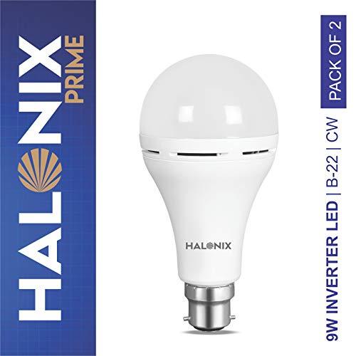 Halonix Inverter LED Bulb B22 9-Watt - White (Pack of 2)