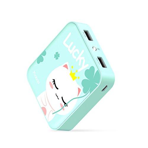 Yoobao Powerbank 10000mAh External Akku Portable Ladegerät Niedlich Power Bank mit 2 USB Ports, Blitzlicht Kompatibel mit iPhone,iPad,Samsung Galaxy und Andere Smartphones - Grün