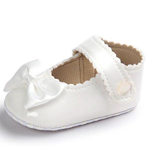 ❤️Chaussures de Bébé, Amlaiworld Bébé Fille Bowknot Chaussures en cuir Sneaker Semelles Souples Anti-dérapantes Chaussures Pour 0-18 Mois (13/12-18Mois, Blanc)