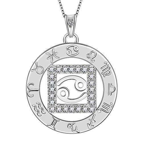 AuroraTears Krebs Halskette 925 Sterling Silber 12 Sternzeichen Anhänger Konstellation Runde Münze Halskette CZ Horoskop Schmuck Geschenk für Frauen und Mädchen DP0111X -
