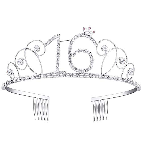 Ouinne Tiara Cristal Cumpleaños Corona Princesa Feliz Cumpleaños de Número 16 Accesorios con Peine