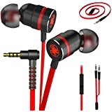 Plextone Gaming Earphones, RichBass in-Ear Headphones with L Sharp Plug & Extension Cable for PC, iPhone, Samsung, Laptop, Xiaomi (Upgrade Red)