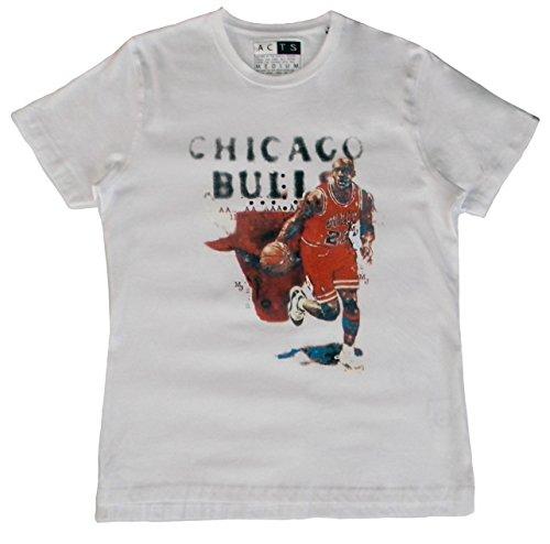 Michael Jordan, Herren T-Shirt, Basketball (S, Weiß)