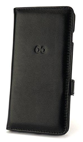 trooble Echtleder Bookcase - Hülle - Tasche - Case - Cover für Apple iPhone 6+ und iPhone 6+s - echtes Leder - Bookcase - inkl. Visitenkartenslot schwarz mit Magnetverschluss - edel luxus