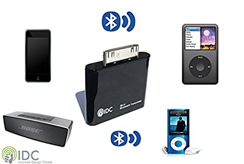 Bluetooth iPod Transmitter from IDC© - The i-BLU Adaptor Will Turn Your iPod Bluetooth To Stream Your Music / Audio Wirelessly to your Bluetooth Speaker Docking System or Headphones / Earphones. Works on all non Bluetooth iPods Including iPod Classic, iPod Nano, iPod Touch, Ipod Mini, Ipod