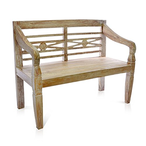 gartenbank teakholz 2 sitzer DIVERO 2-Sitzer stabile antike Gartenbank 115 cm massiv Teak-Holz Handarbeit 2 Personen Bank mit Schnitzereien weiß whitewash