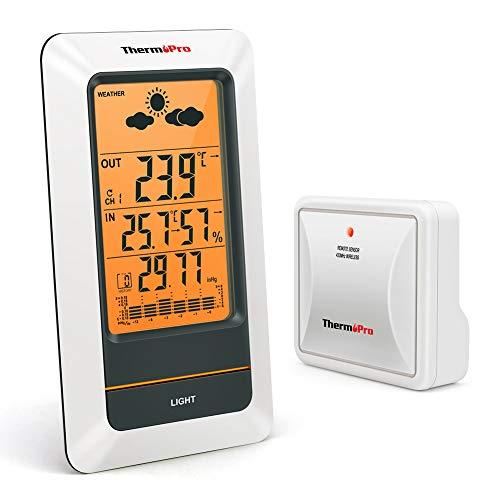 ThermoPro TP67 Wetterstation Funk mit wasserfestem Außensensor und Wettervorhersage Digital Thermometer Hygrometer Barometer für Innen und Außentemperaturanzeige