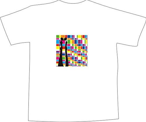T-Shirt E270 Schönes T-Shirt mit farbigem Brustaufdruck - Logo / Grafik - minimalistisches Motiv - Retro Hintergrund mit 2 Personen im Disco-Style Mehrfarbig