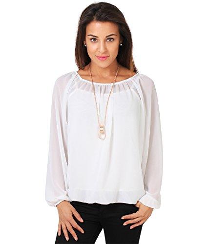 7504-CRM-ML: KRISP Damen Langarm Shirt Chiffon Bluse (Cremeweiß, Medium-Large)