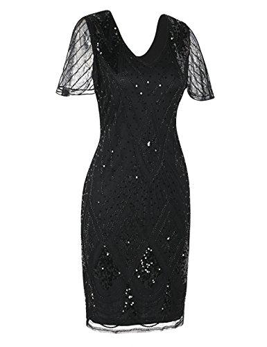 PrettyGuide Damen Charleston Kleid 20er Jahre Pailletten Gatsby Kleid Kurzarm S Schwarz - 2