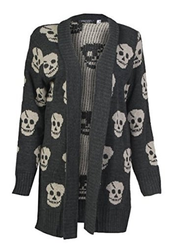 MyMixTrendz -  Cardigan  - Donna Charcoal Skull X-Large